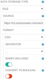 Read DataFrame operation parameters panel