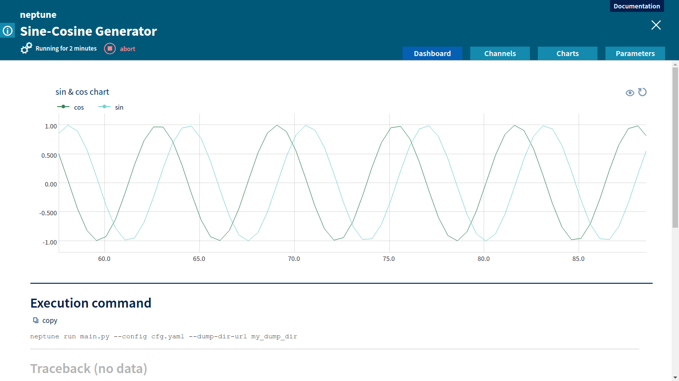 Neptune – Machine Learning Platform, Chart for Sine-Cosine Generator