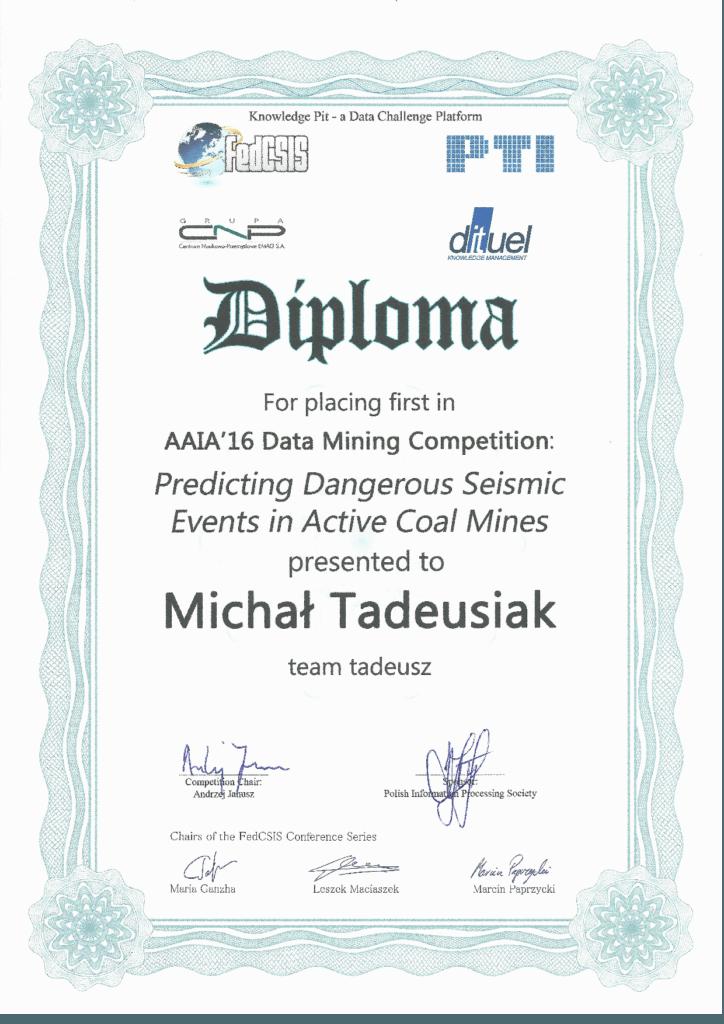 AAIA16 Data Mining Challenge Seismic Events Diploma