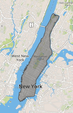 Manhattan GeoJson polygon Visualization