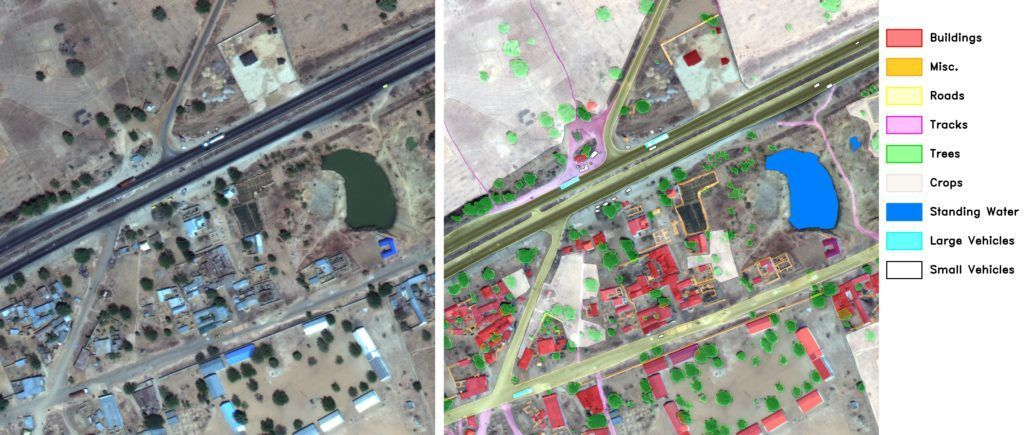 Satellite imagery sample with labels.